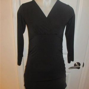 RIPE GATHERED LONG-SLEEVE DRESS SIZE S